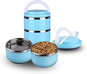 Redxiao 【???????????????????? ???????????????????????? ???????????????????????? ????????????????????】 Pet Food Leak-Proof Stainless Steel Lunch Boxes, Portable 2 Tier Independent Layering Foldable Water Bowl Set