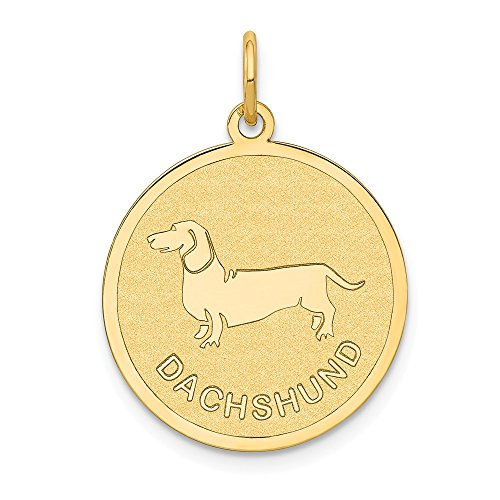 14k Yellow Gold Dachshund Disc Pendant Charm Necklace Animal Dog Fine Jewelry Gifts For Women For -