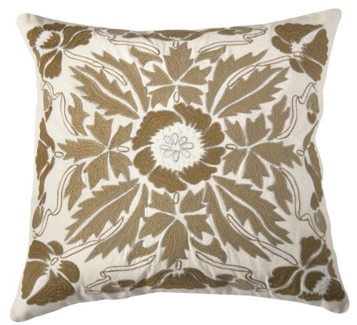 (Rizzy Home T06652 Hand Applique of Heavy Embroidery with Metallic Beading Outline Detailing Decorative Pillow, 20 by 20-Inch,)