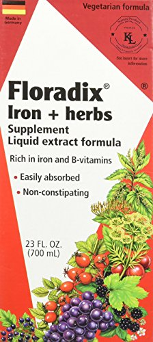 Floradix Iron Plus Herbs 23 fl oz - 70 Servings - Iron and B-vitamins - Non-constipating - Vegetarian