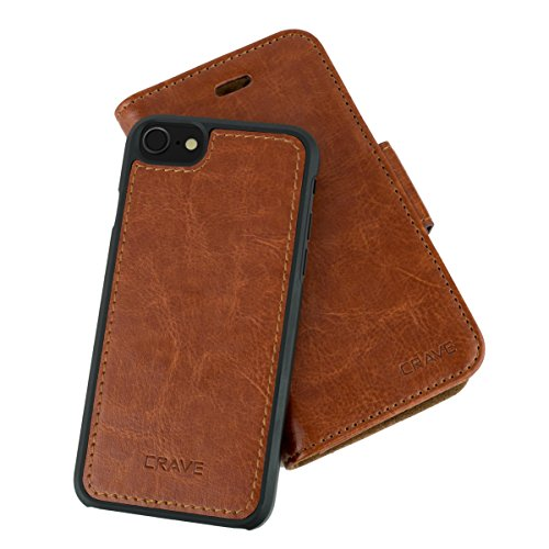 iPhone 7/8 Leather Wallet Case, Crave Vegan Leather Guard Removable Case for Apple iPhone 7/8 (4.7 Inch) - Dark Brown