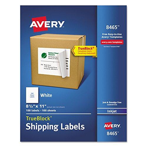 Avery 8465 Inkjet Labels, Full Sheet, Permanent, 8-1/2