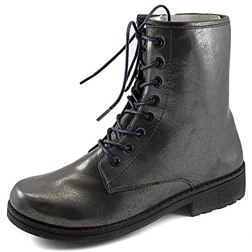 Womens Qupid Missile-04 Military Up Bootie Pewter mRXhSb