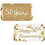 Gold 50th Anniversary Miniatures Candy Bar Wrapper Stickers, 54 Count