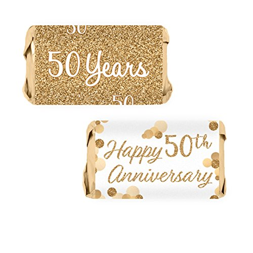 Anniversary Party Favors (Gold 50th Anniversary Miniatures Candy Bar Wrapper Stickers, 54 Count)