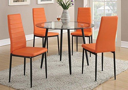1PerfectChoice Set of 4 Retro Dining Chairs w/ Faux Leather Black Metal Legs Color Orange Option - Chair Orange Faux Leather