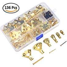 TIMESETL 136Pack Heavy Duty Picture Hanging Kit 10, 20, 30, 50, 75, 100lbs Mirror Canvas Picture Hanger Hooks and Nails for Plasterboard Wall Protection