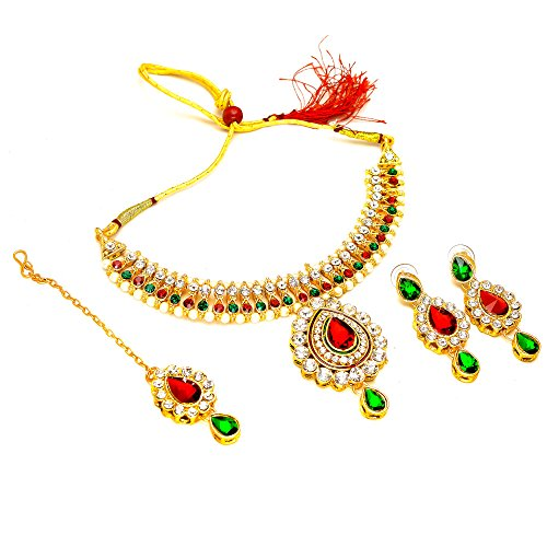 Red Jade Gemstone Necklace (Necklace Set Kundan Polki Jade Red Green Gemstone With Tika Jewelry 6749)