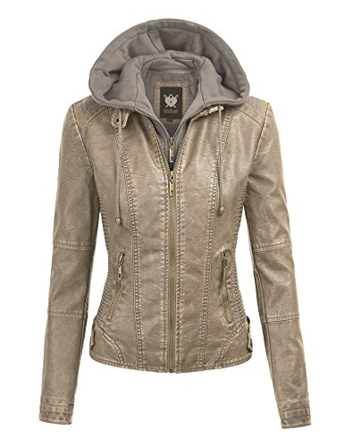 Lock and Love LL Womens Faux Leather Quilted Motorcycle Jacket with Hoodie M Khaki ()