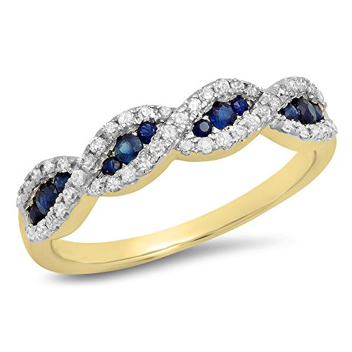 Dazzlingrock Collection 10K Blue Sapphire & White Diamond Bridal Swirl Anniversary Wedding Band, Yellow Gold, Size 5.5