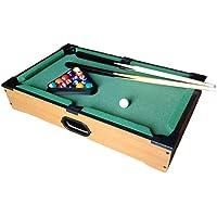 Toygogo Mini tafelbiljart, biljarttafel, Billiard speeltafel met 2 keus, ballen, driehoek en krijt, 35 x 25 x 7 cm