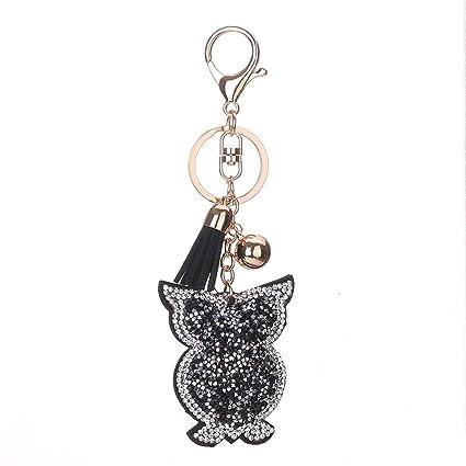 Amazon.com  xueus Glistening Owl Keychain Women s Inlaid Two-Color ... a8d2c2307