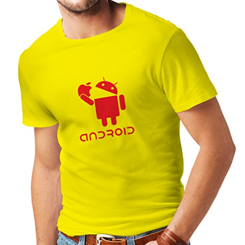 T Shirts for Men Android Eating The Apple - I Love Cool tech Gadgets, Geek Nerd Humor (Medium Yellow Red)
