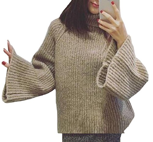 FLCH+YIGE Womens Solid Turtleneck Long Sleeved Knit Pullover Sweaters Khaki - Girls Sleeved Long Turtleneck Top