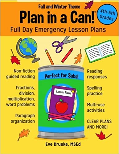 plan in a can 4th 5th grades full day emergency lesson plans