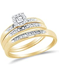 10K Yellow Two Tone Gold Round Diamond Halo Circle Trio Three Ring Set - Matching His and Hers Engagement Ring & Wedding Bands - Prong Set Solitaire Center Setting Shape (.08 cttw.) - Please use drop down menu to select your desired ring sizes