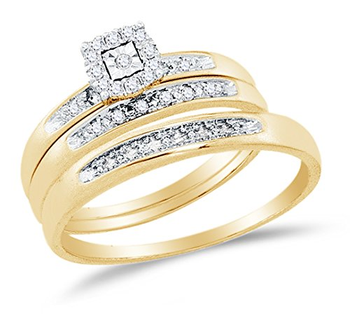 10K Yellow Two Tone Gold Round Diamond Halo Circle Trio Three Ring Set Matching His and Hers Engagement Ring & Wedding Bands Prong Set Solitaire Center Setting Shape (.08 cttw.) Please use drop down menu to select your desired ring sizes