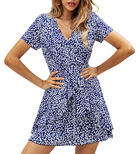 (BTFBM Women V Neck Short Sleeve Polka Dot Floral Pattern A-Line Tie Belt Short Dress with Ruffle Irregular Hem (Blue,)