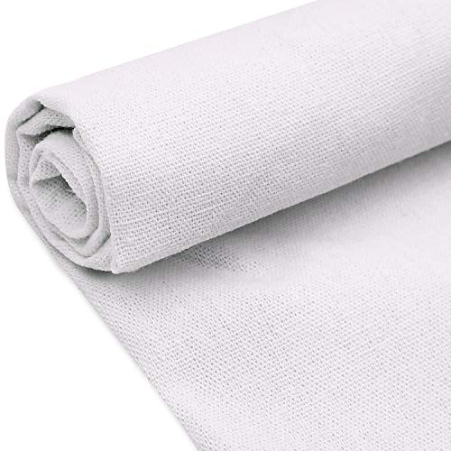 Natural Linen Fabric Solid Colored Needlework Cross Stitch Cloth for Making Garments Crafts, 62 by 20 inches (Pure White, 1 Piece)