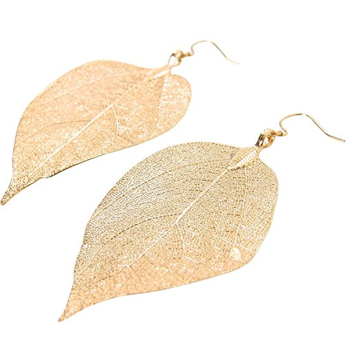 Real Leaves Dipped Leaf Dangle Earrings (Gold - Earrings Leaf Gold