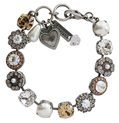 - Mariana Silvertone Large Flower Shapes Crystal Bracelet, 7