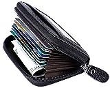 RFID Blocking Leather Wallet for Women,Excellent Women's Genuine Leather Credit Card Holder Black
