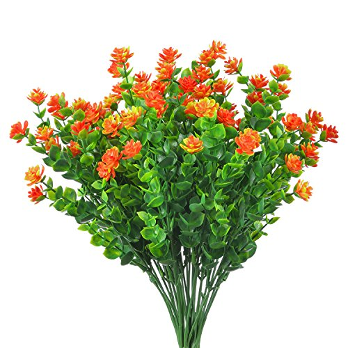 Artificial Shrubs Flower Bouquet Plants, ManKami 4 Bundles Fake Greenery Flowers Eucalyptus Branches for Wedding House Office Garden Patio Yard Indoor Outdoor Decor (Orange) (Artifical Outdoor Plants)