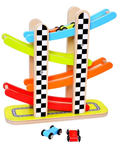 Image of the Pidoko Kids Car Racer Track Playset - 4 Levels Zig Zag Gliding Cars Racing Games - Wooden Mega Ramp Slider Ladder with four Mini Racers - Race Toys for Toddlers Boys and Girls 2 year old and up