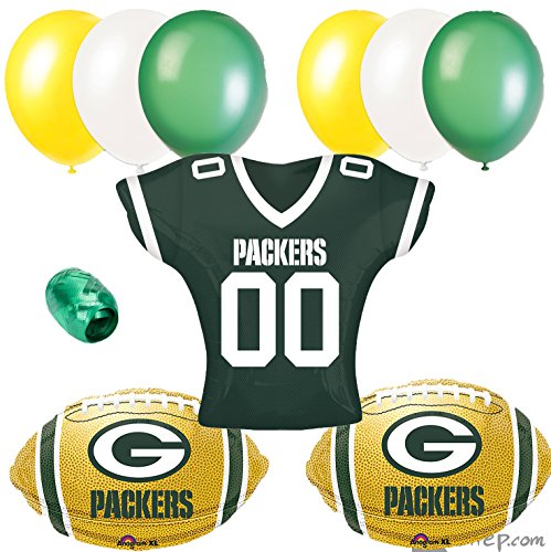 Green Bay Packer NFL Football Balloon Party 10pc Jersey Balloon Pack -