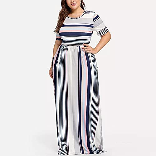 BXzhiri Women Summer Style O-Neck Printed Cotton and Linen Casual Plus Size Dress