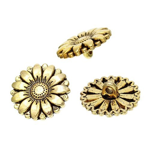 Stock Show 50Pcs Fancy Vintage Style Gold Sunflower Shaped Buttons Galore Buttons, 18mm