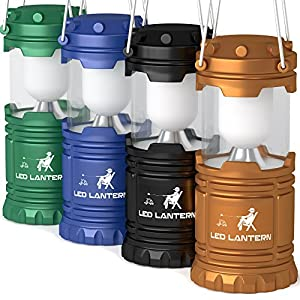 MalloMe 4 Pack LED Camping Lantern Flashlights Camping Equipment - Great for Emergency, Tent Light, Backpacking, Hiking, Fishing, and Bug Out Bag