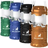 MalloMe Camping Lantern LED Emergency Light Battery Powered 4 Pack - Super Bright Camp Lamps - Portable Indoor & Outdoor Hurricane Supplies - AA Batteries Not Included (Multicolored)