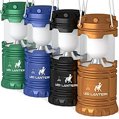 LED Camping Lantern Flashlights Camping Equipment - Great for Emergency, Tent Light, Backpacking, , 4 Pack Gift Set