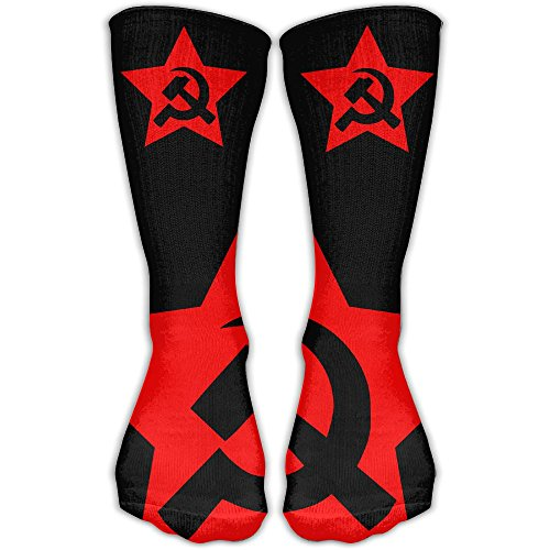 USSR HAMMER & SICKLE FLAG Sport Calf Athletic Socks&Casual Calf Socks For Man's And Women's One Size 30cm Sickle Flag