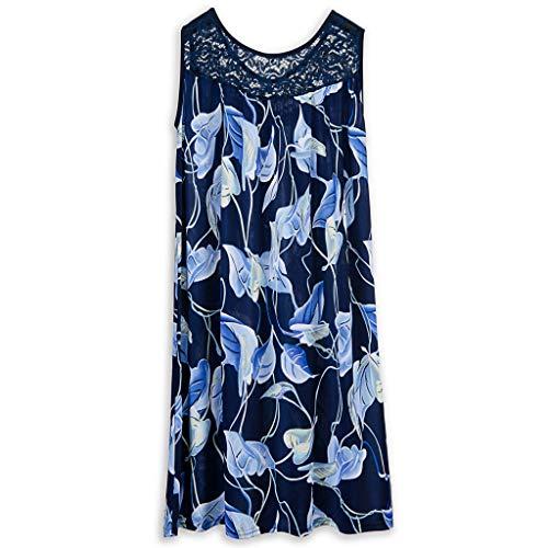 Women's Print Mini Dress Shirred Tummy Control Dresses Lace Neckline Cocktail Prom Ballgown Fancy Dress(Blue, XL)