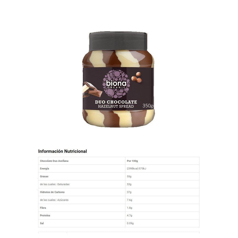 Biona Orgánico Untar de Chocolate Duo Avellana 350g: Amazon.es: Alimentación y bebidas