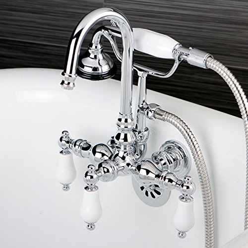 Kingston Brass Bathtub Wall-Mount Claw Foot Tub Filler with Handshower in Polished Chrome - Tub Filler Handshower