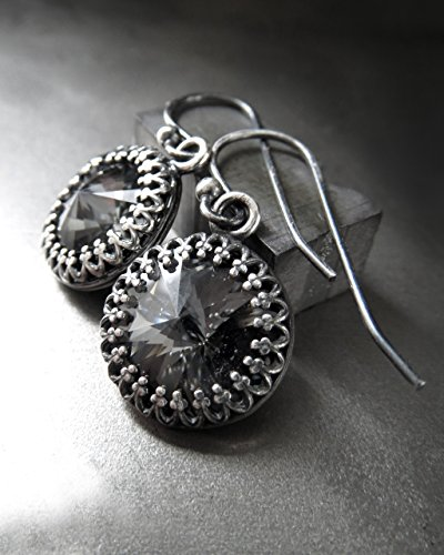 Swarovski Crystal Rivoli Earrings in Midnight Black with Vintage Style Antiqued Silver Plated Bezel, Wedding Jewelry