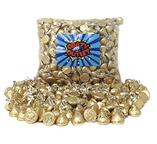 CrazyOutlet Pack - Hershey's Kisses Creamy Milk Chocolate, Limited Edition Gold Wrapping Candy Bulk, 2 Lbs (Wedding Chocolate Bars)