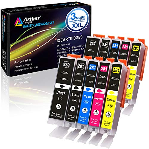 Canon Compatible Inkjet Cartridge - Arthur Imaging Compatible Canon Ink cartridges 280 and 281 Replacement PGI-280XXL CLI-281XXL PGI 280 XXL CLI 281 XXL PIXMA TR7520 TR8520 TS6120 TS6220 TS8220 TS9120 TS9520 TS9521C Printer (10 Pack)
