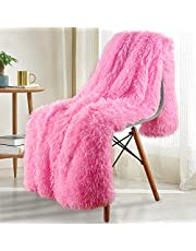 Noahas Shaggy Longfur Throw Blanket with Sherpa Warm Underside, Super Soft Cozy Large Plush Fuzzy Faux Fur Blanket, Lightweight and Washable Kids Girls Room Decorative Blanket, 50''x60'', Hot Pink