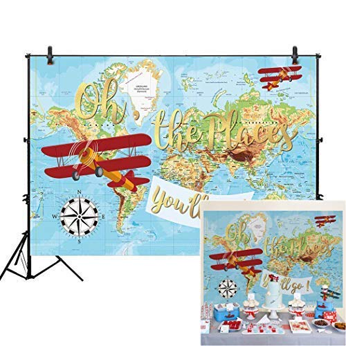 Allenjoy 7x5ft Vintage Airplane Backdrop for Cake Smash Photography Oh The Places You Will Go Hot Air Balloon Boy Pilot 1st First Birthday Baby Shower Party Table Decor Background Photo Studio Prop -