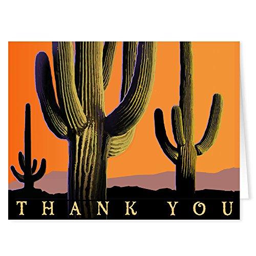 Southwest Desert Blank Thank You Note Card - 10 Boxed Cards & Envelopes - Saguaro Cactus ()
