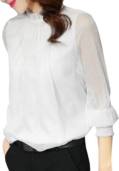 Longra Blouses Femme Chic Chemisiers Chiffon T Shirts Tops à Manches Longues Haut Rétro Élégant Vintage Mi Saison Blouses Officier Femme Originaux