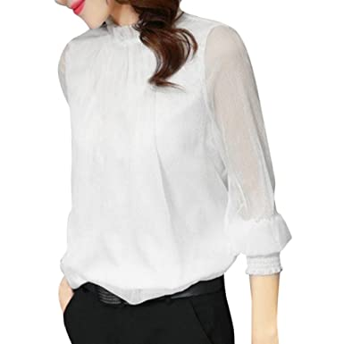 9ac867a6851ca Longra Blouses Femme Chic Chemisiers Chiffon T-Shirts Tops à Manches  Longues Haut Rétro Élégant