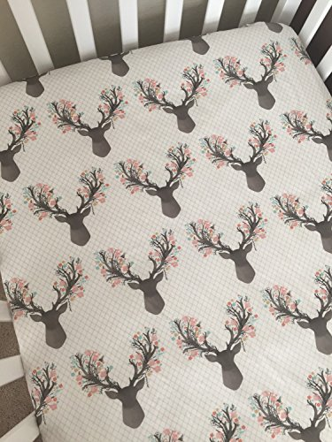 Crib Sheet - Floral Deer by Lullabies and Lollipops