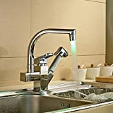 Rozinsanitary LED Spout Kitchen Sink Faucet Pull Out Hand Spray Mixer Tap
