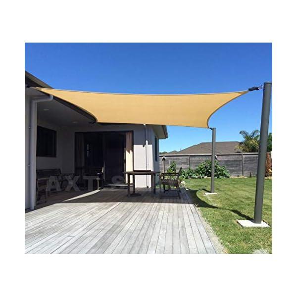 AXT SHADE Tenda a Vela Rettangolare 3,5 x 4,5m, Traspirante e Protezione Raggi UV, per Esterni, Cortile, Giardino… 1 spesavip