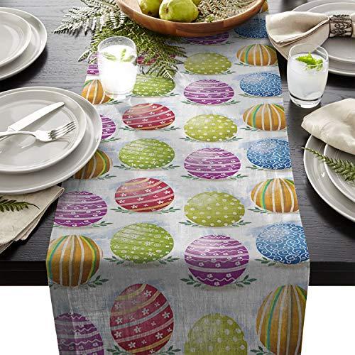 Easter Cotton Linen Table Runners Eggs Design, Purple Green Blue Eggs Design, Purple Green Blue Tablecloths for Kitchen Garden Wedding Parties Dinner Indoor Home Decorations (16